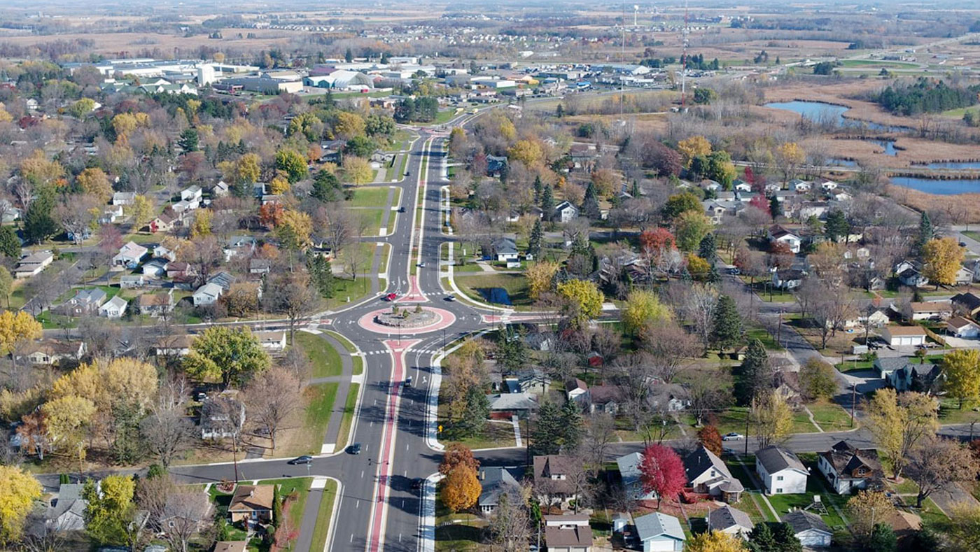 aerial view of residential roads