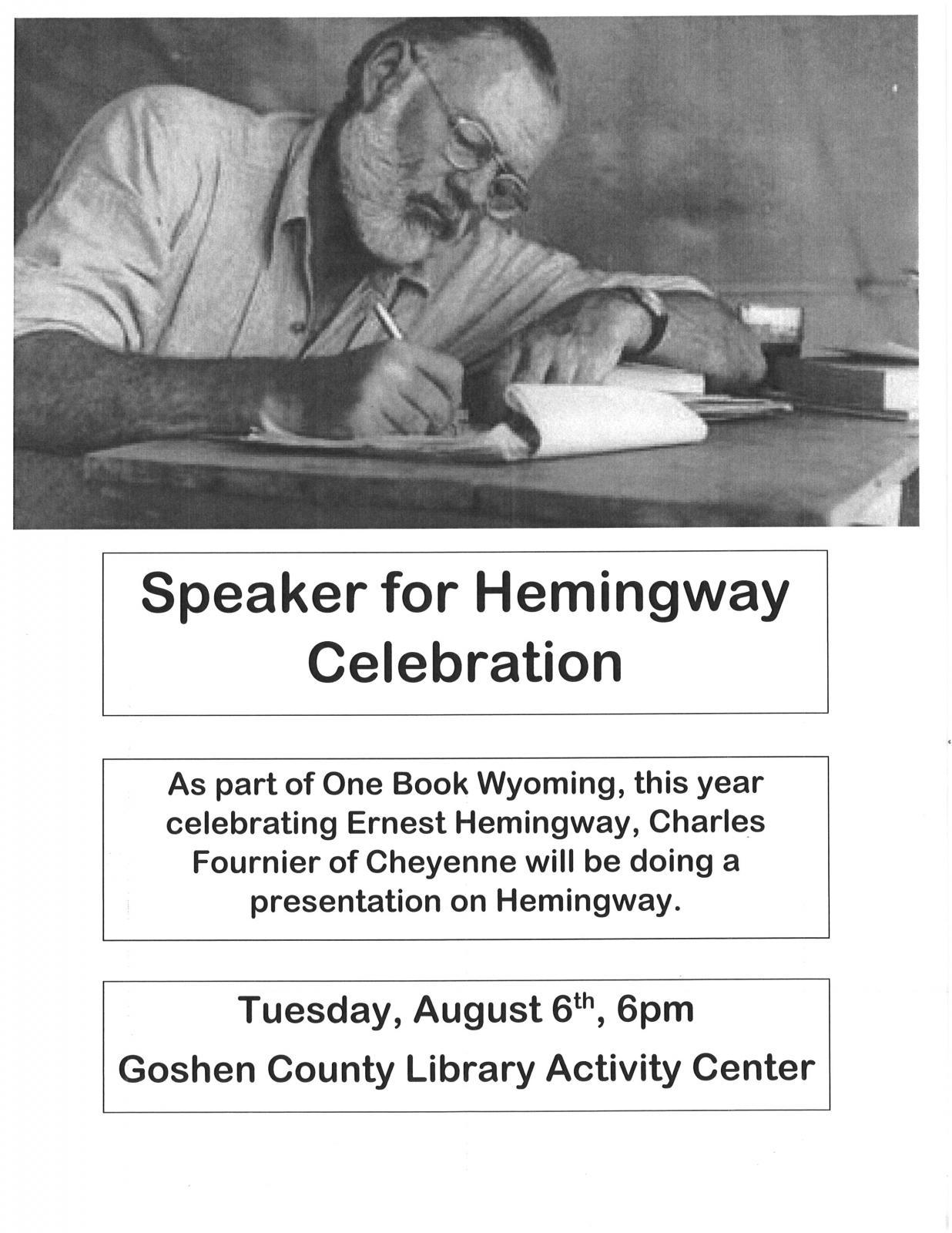 Speaker for Hemingway Celebration Photo