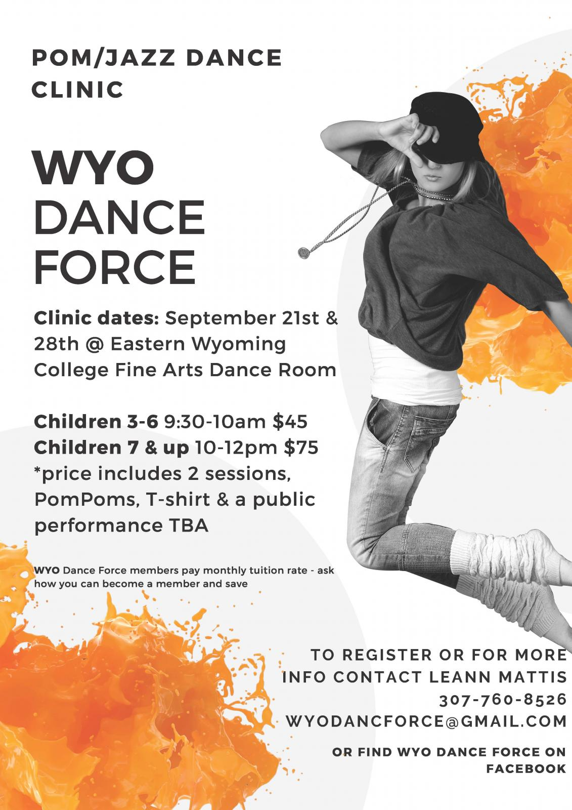 Event Promo Photo For WYO Dance Force Clinic Dates