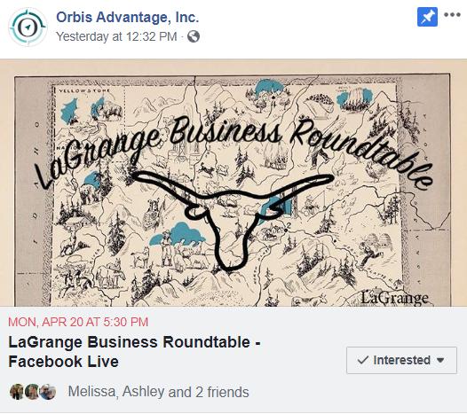 LaGrange Business Roundtable - Facebook Live Photo