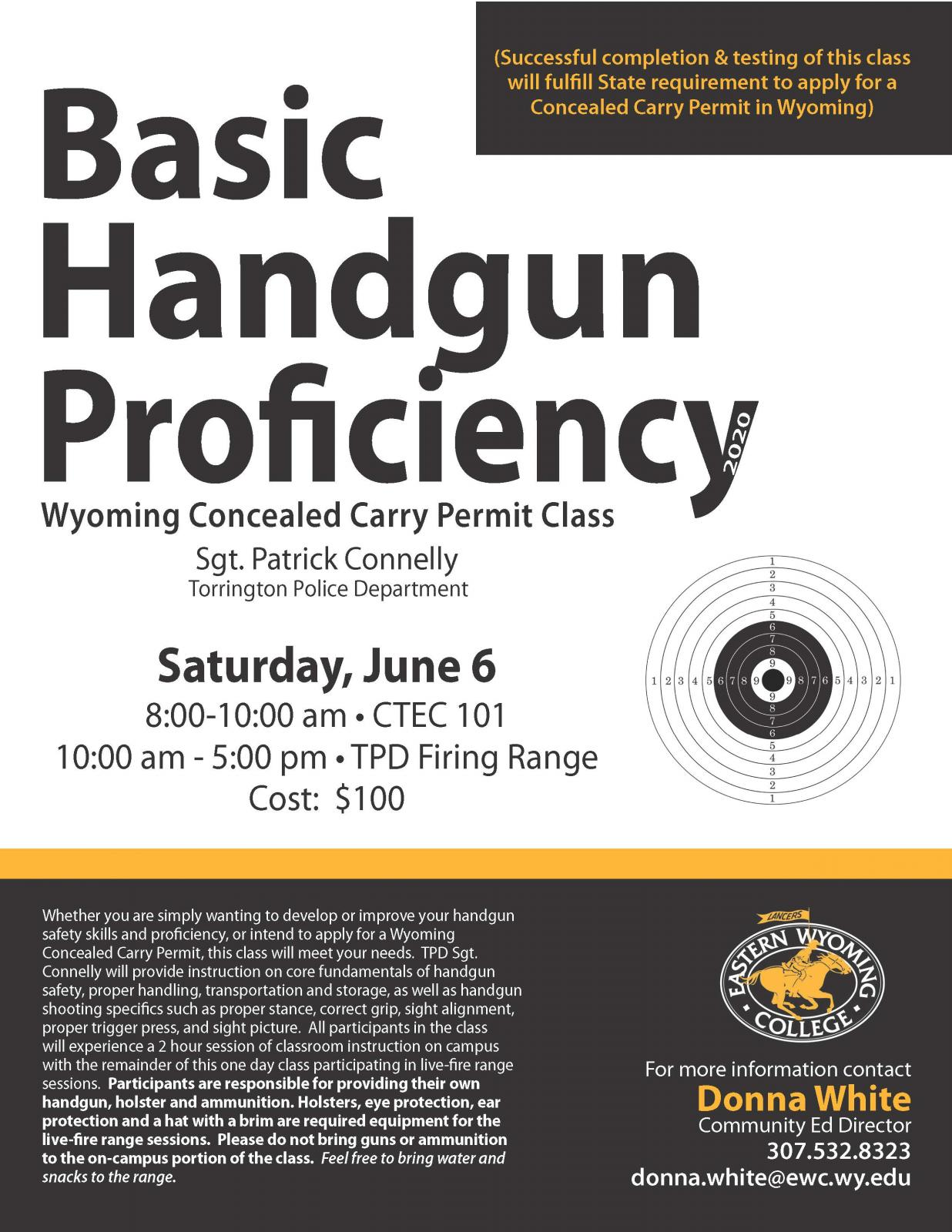 Basic Handgun Proficiency Wyoming Concealed Carry Permit Class Photo