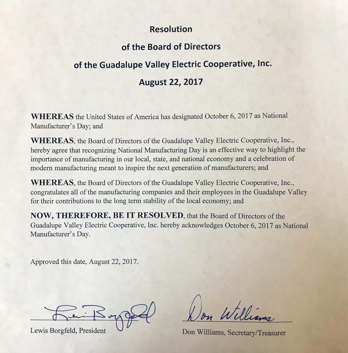 GVEC Board Manufacturing Day Resolution