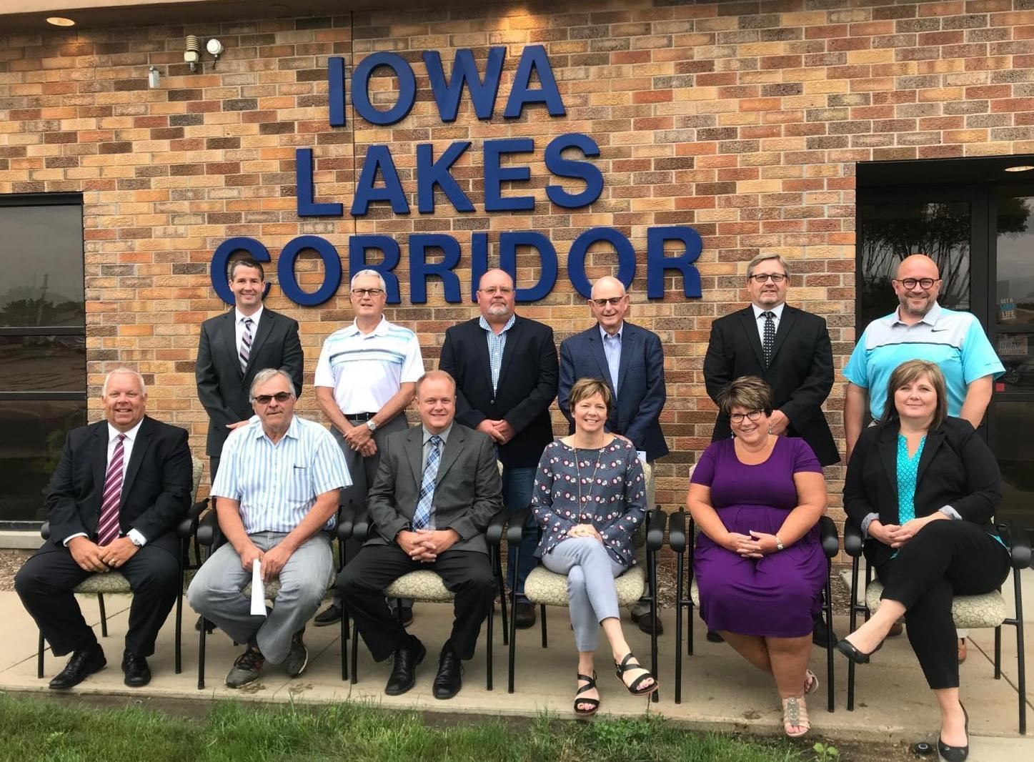 Iowa Lakes Corridor Board of Directors, Fiscal Year 2020 - Pictured: Front (left to right): Kent Stensland, Tim Fairchild, Mike Wodtke, Susan Zulk, Deb Satern, Penny Clayton; Back: Brad Beck, Mike Porsch, John Tatman, Burlin Matthews, Jon Wilcke, Dr. Joshua Merchant