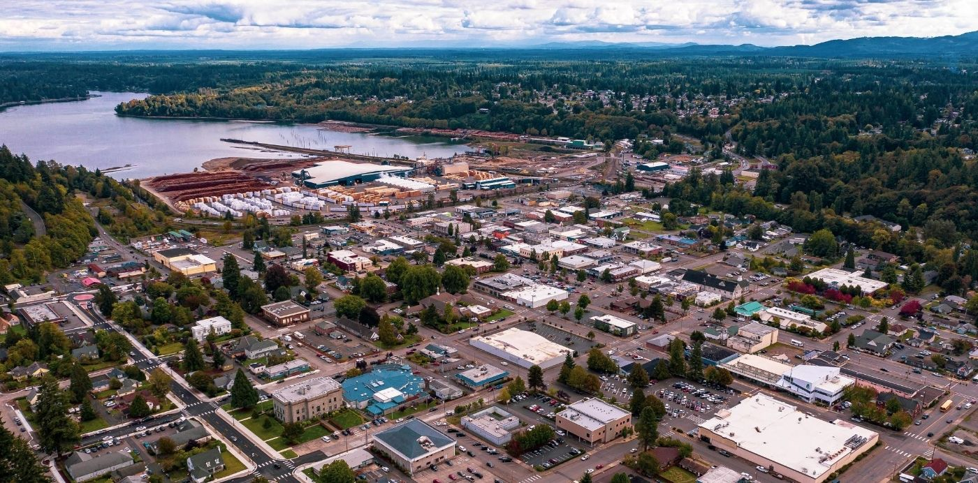 downtown shelton aerial view