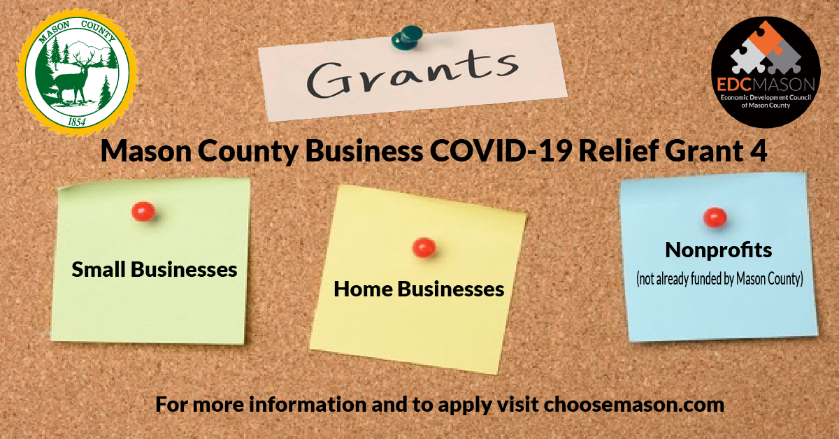 Mason County Small Business COVID Relief Grant 4 application portal opens Monday October 18th! Photo - Click Here to See