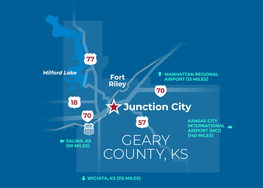 Regional map showing Junction City, KS