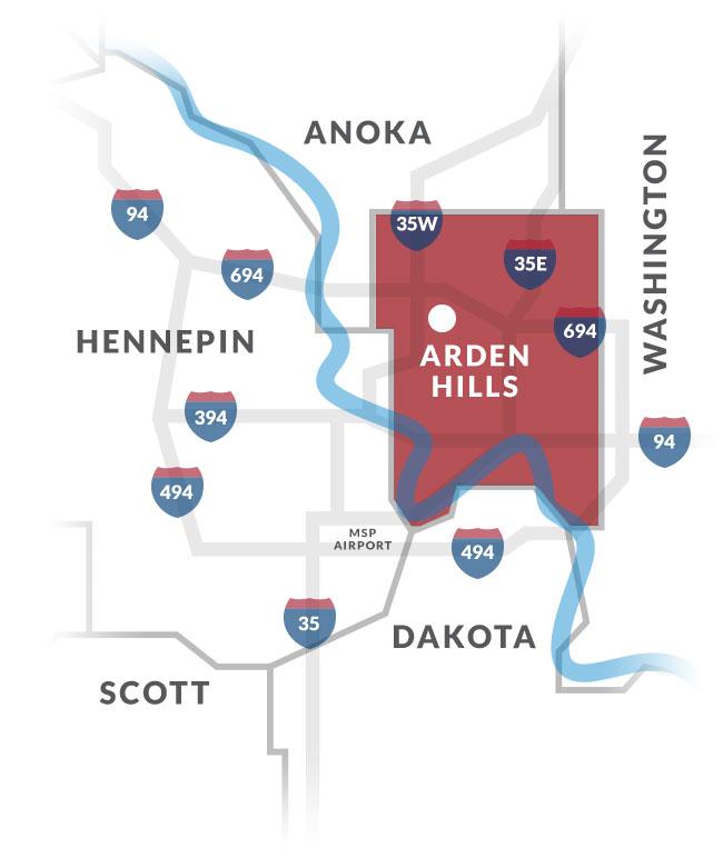 arden hills mn map