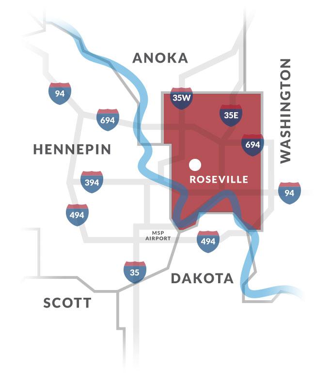 roseville mn map