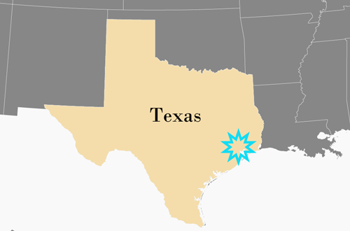 Map showing Texas and marking Stafford Texas