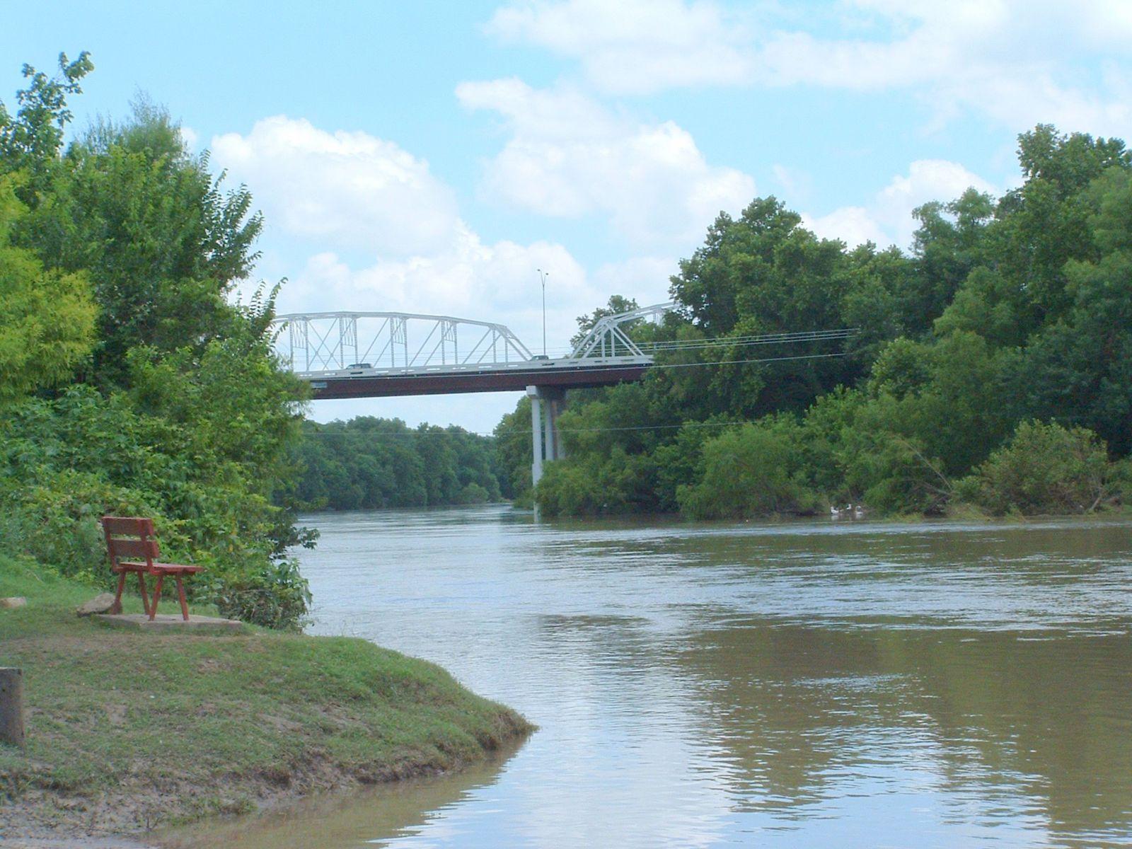 old bastrop bridge over the colorado river
