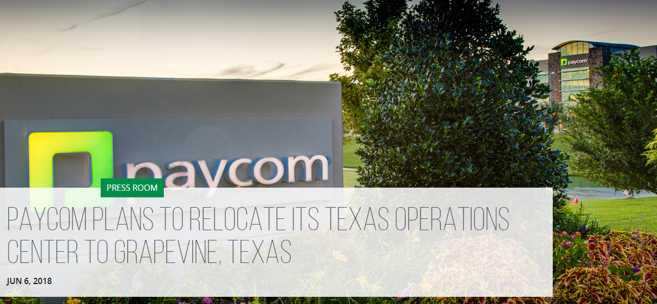Paycom Plans to Relocate Its Texas Operations Center to Grapevine, Texas Main Photo