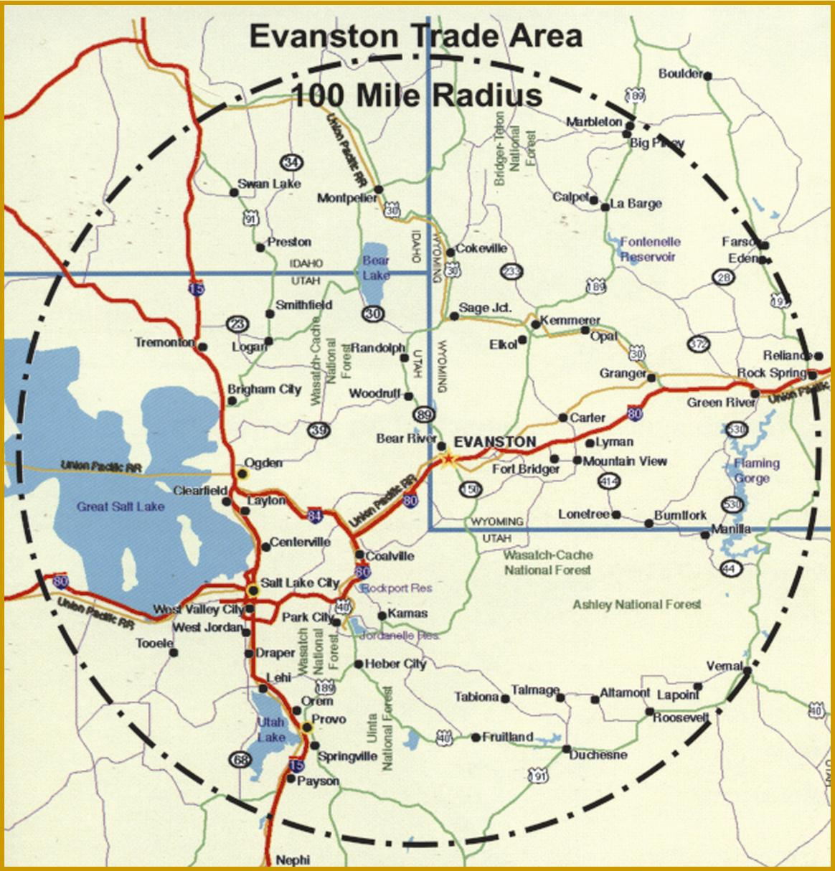 evanston trade area