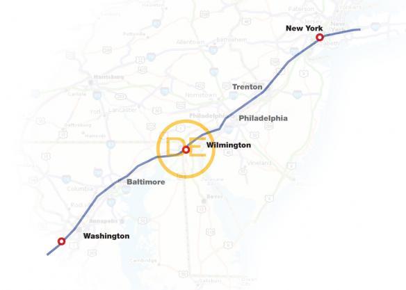 washington to new york map