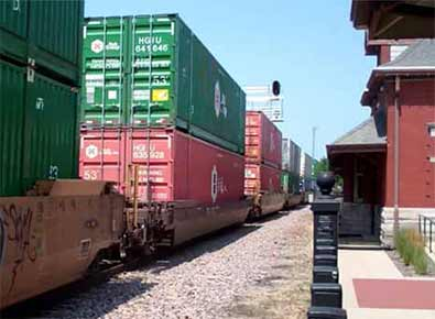 cargo containers on rail cars