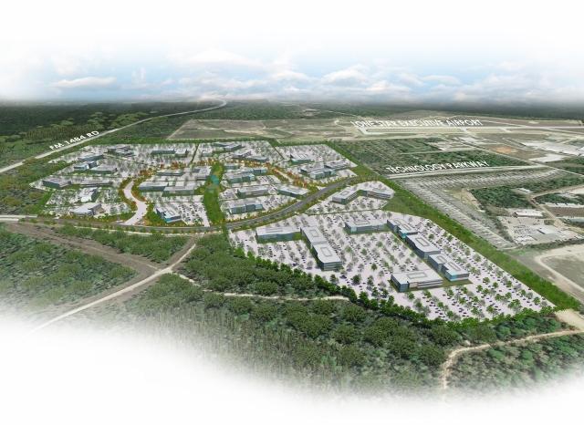 aerial artist's rendering of deison technology park