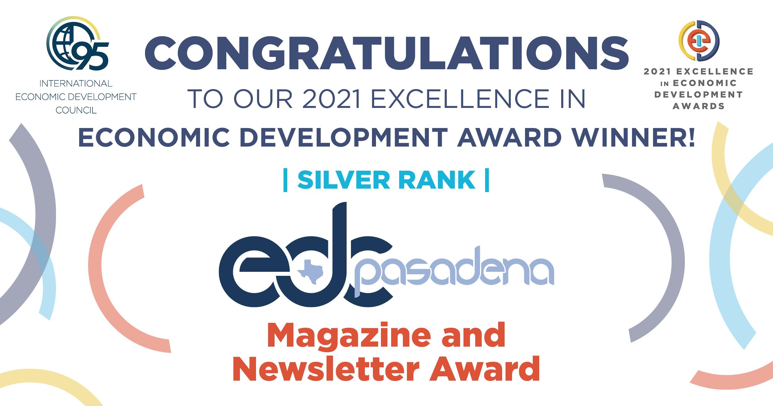 Click the Pasadena Economic Development Corporation Receives Excellence in Economic Development Award from the International Economic Development Council Slide Photo to Open