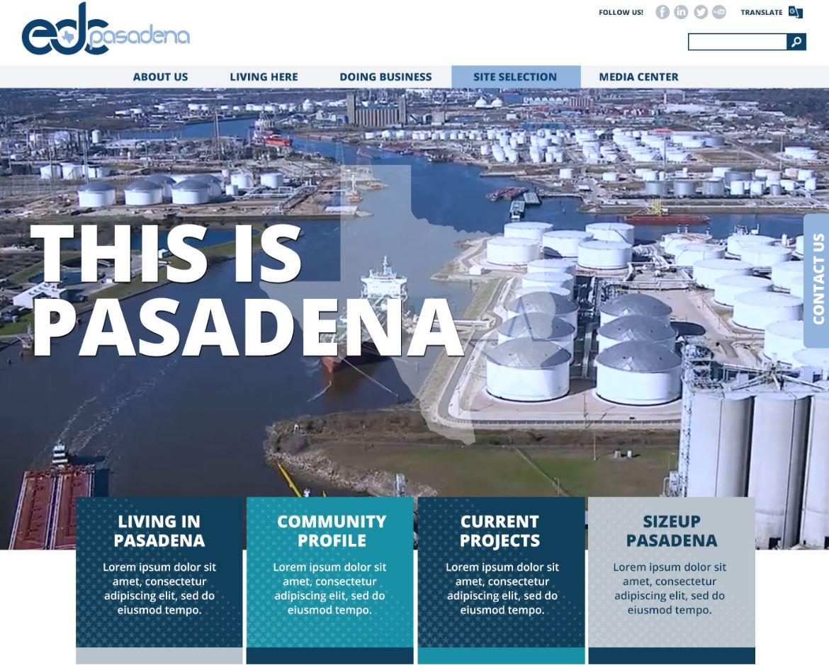 Click the Pasadena EDC Launches New Website Slide Photo to Open