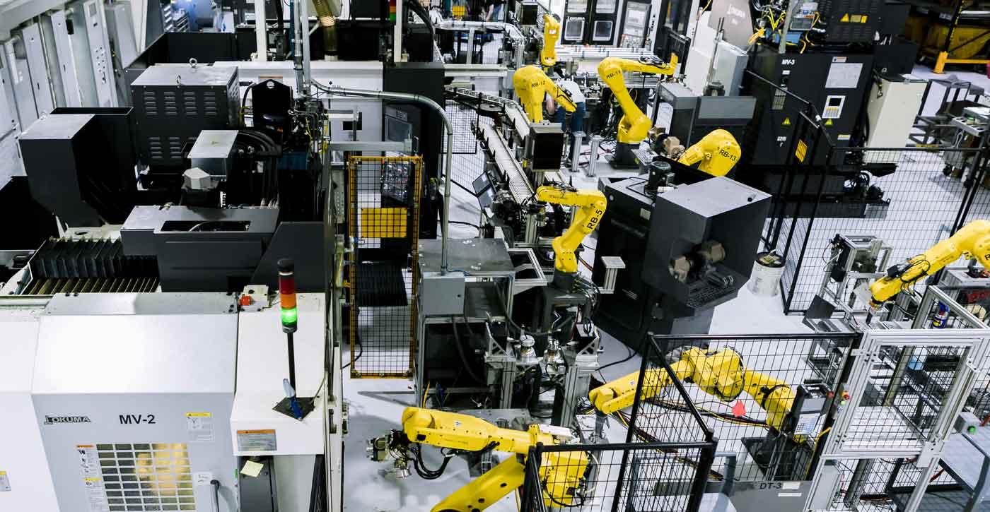 shop floor with robotics