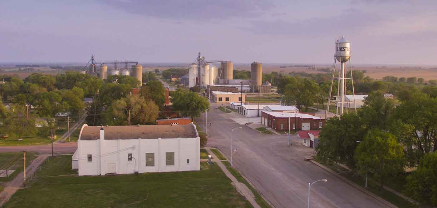 aerial view of Chester, NE downtown