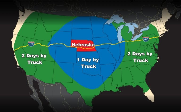 one and two day truck driving distances from Nebraska