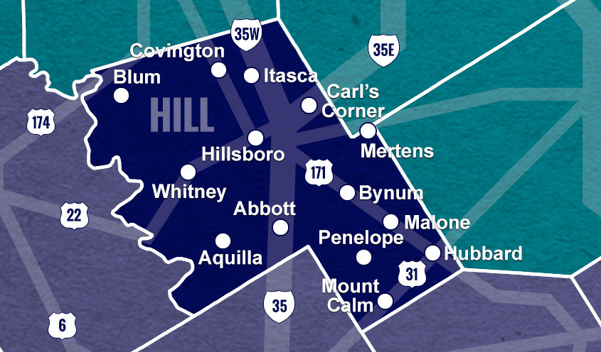 Hill County, TX map