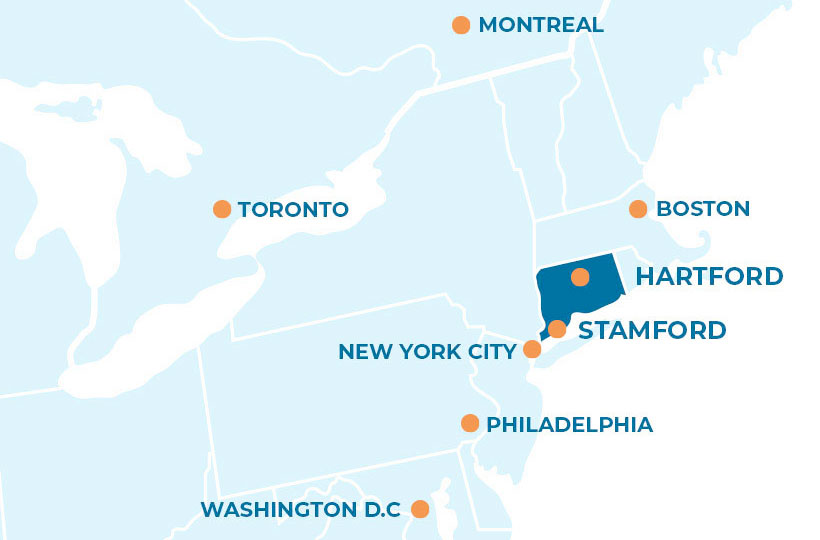 New England map highlighting CT