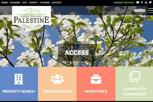 Click the New Website Highlights Business Opportunities in Palestine, Texas Slide Photo to Open