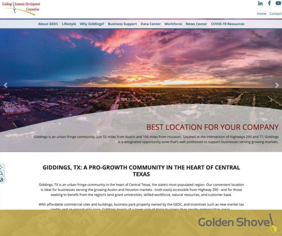 Giddings Economic Development Corporation Launches Newly Designed Website Main Photo