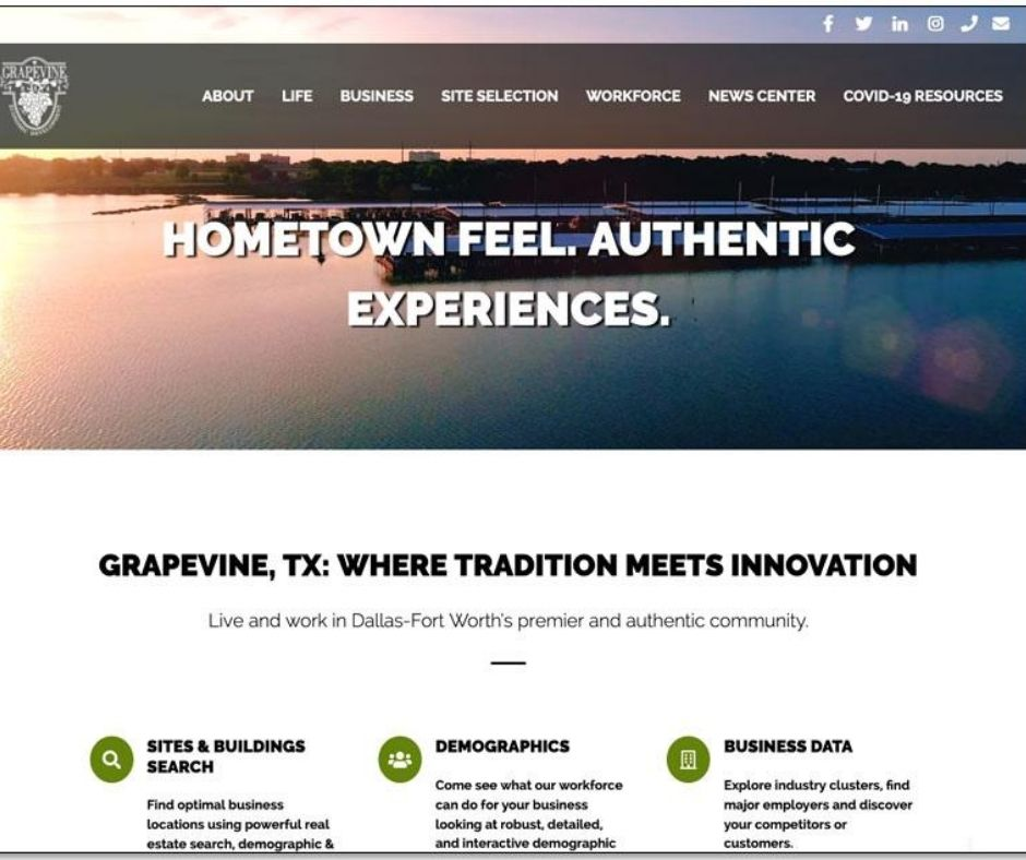 Grapevine Economic Development Launches Newly Designed Website Main Photo