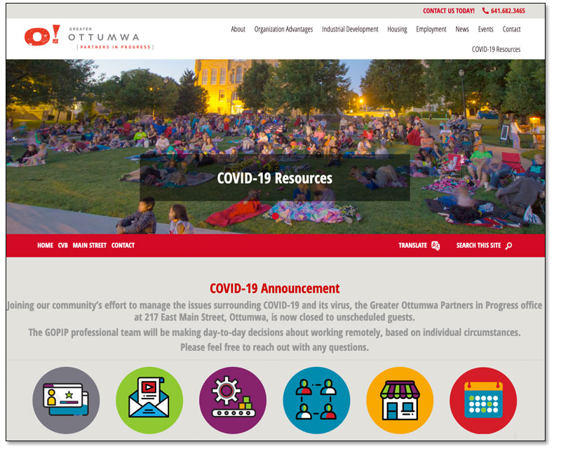 Greater Ottumwa Partners in Progress Launches Redesigned Website Main Photo