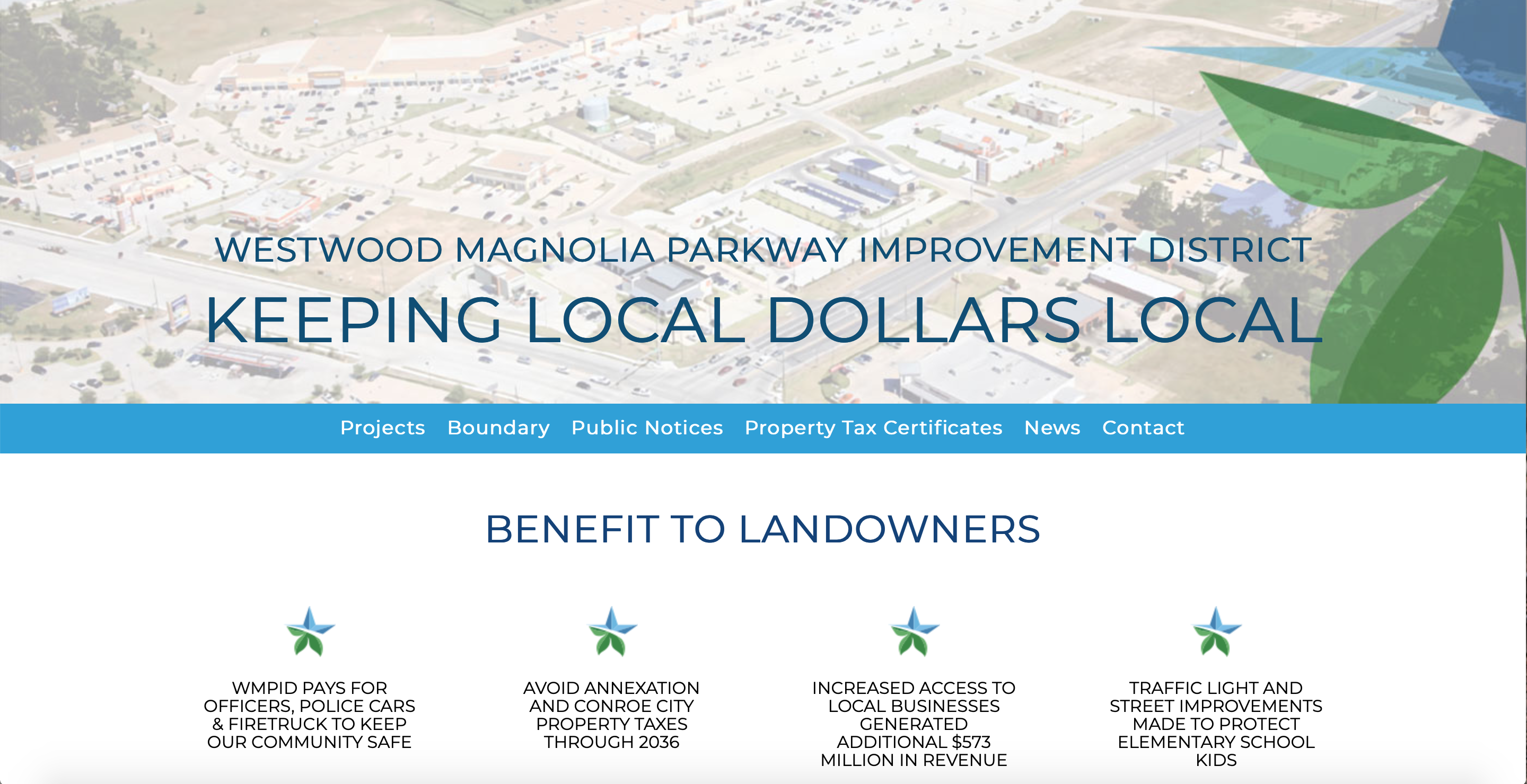 Westwood Magnolia Parkway Improvement District Launches Redesigned Website Main Photo
