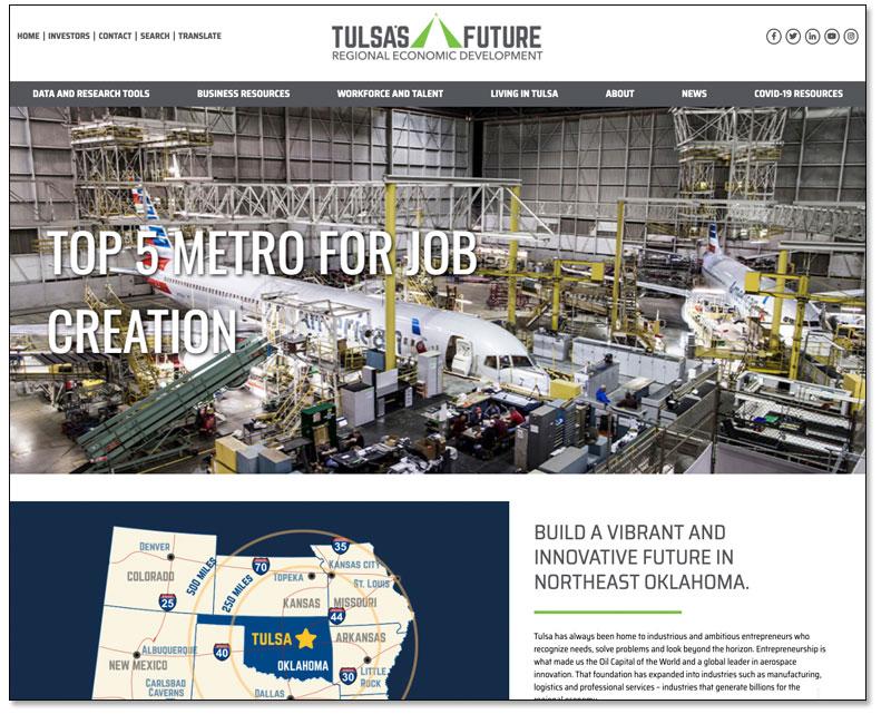 Tulsa's Future Regional Economic Development Launches Redesigned Website Main Photo
