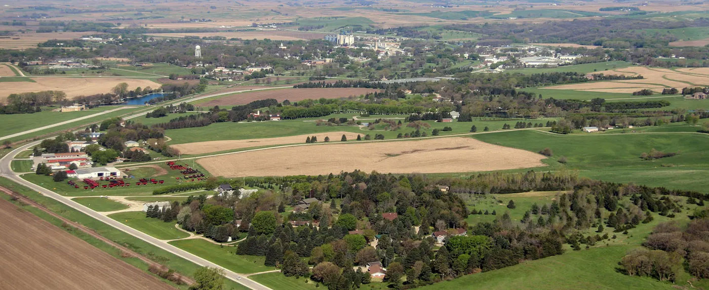 aerial view of town and fields