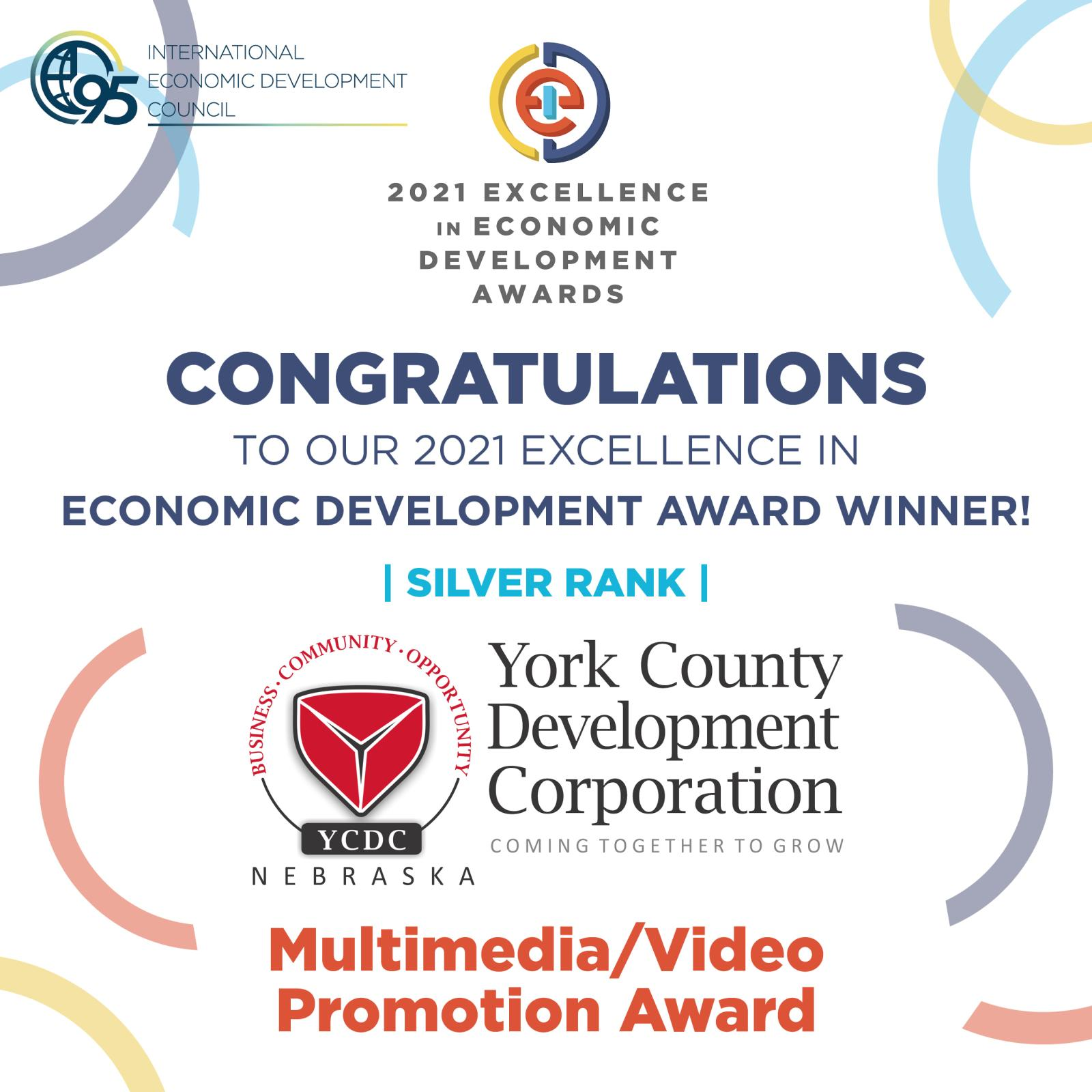 York County Development Corporation Receives Excellence in Economic Development Award from the International Economic Development Council Photo - Click Here to See