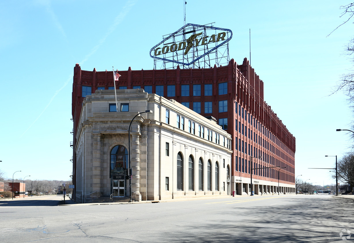 The old Goodyear Headquarters which has now been renovated as the East End Development, bringing an industrial and historic vibe to downtown living in Akron.