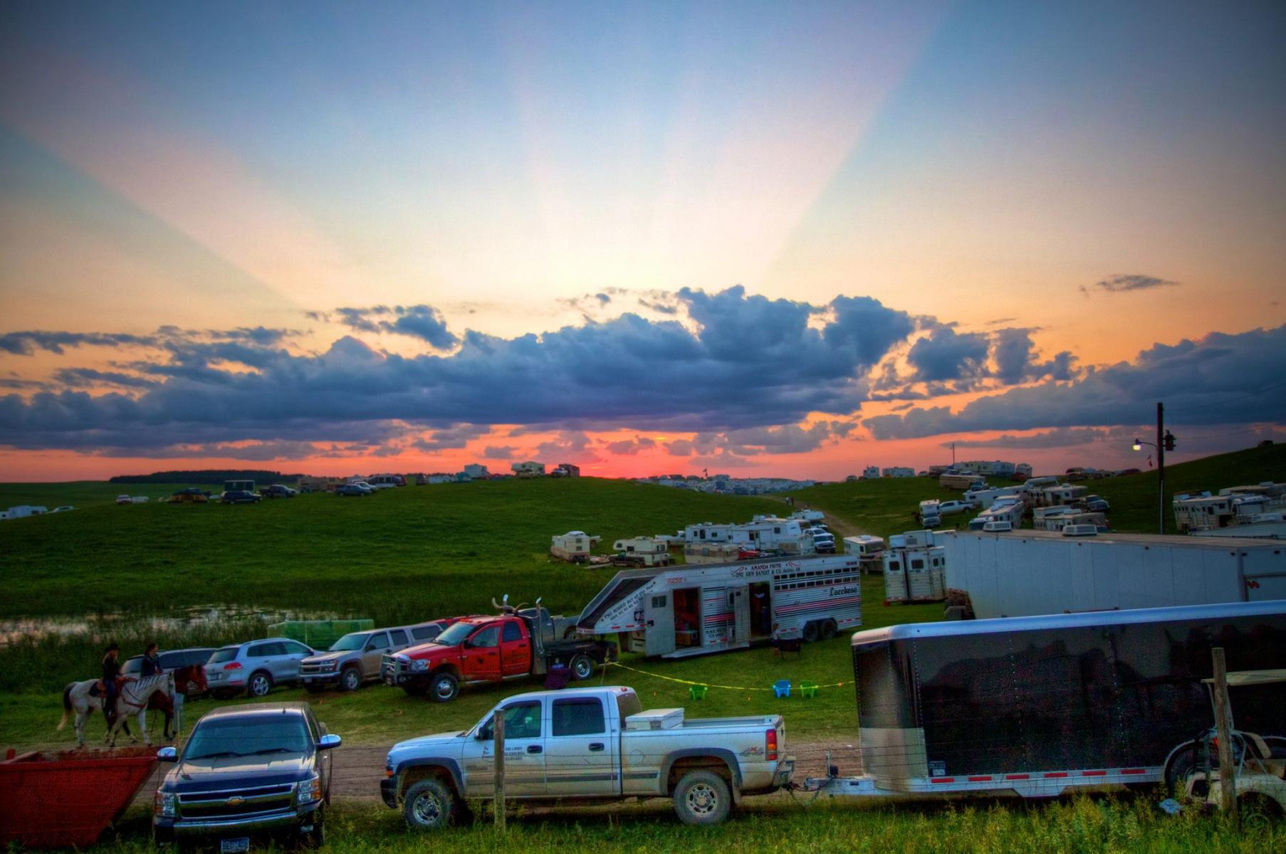 Camping and Sunset