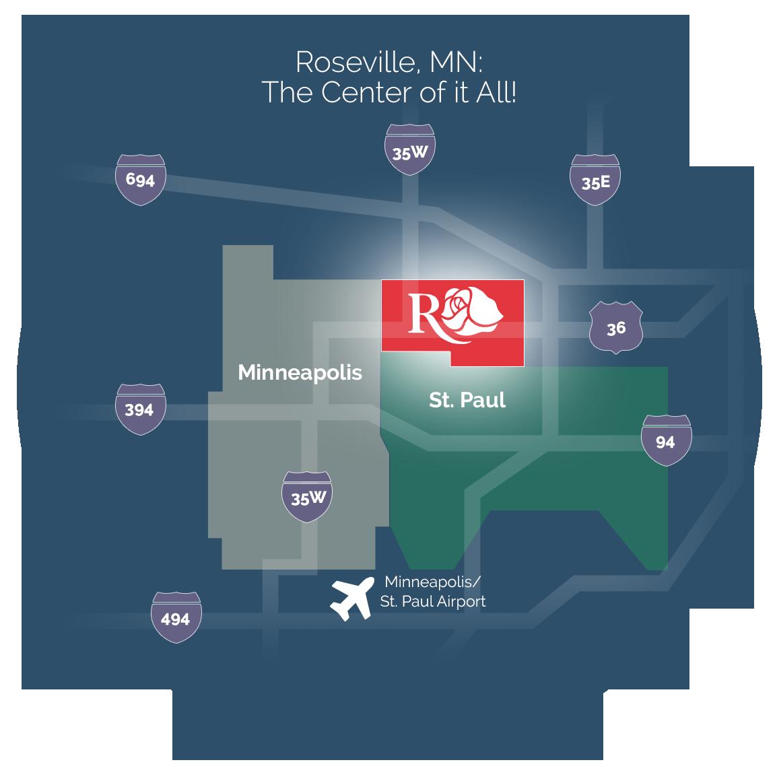 roseville, mn map