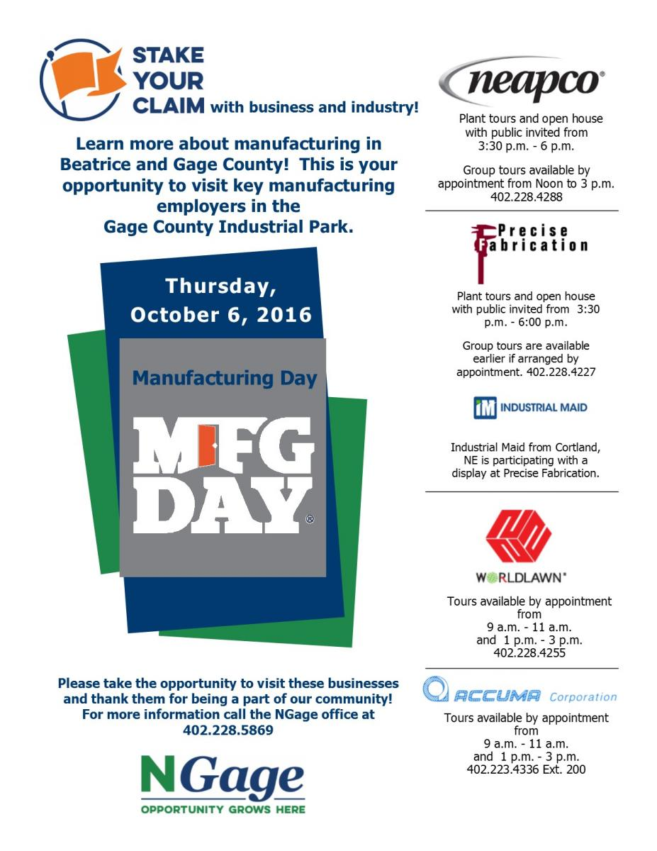 Manufacturing Day - October 6, 2016 Celebrations in Beatrice Main Photo