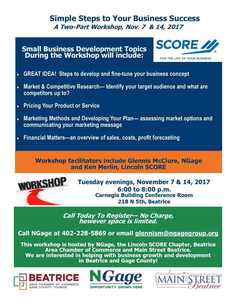 SCORE Simple Steps to Business Success - A Two Part Workshop Main Photo